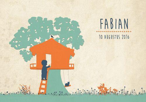 Geboortekaartje Fabian - Pimpelpluis - https://www.facebook.com/pages/Pimpelpluis/188675421305550?ref=hl (# jongen - boom - boomhut - avontuur - poes - silhouet - lief - origineel)