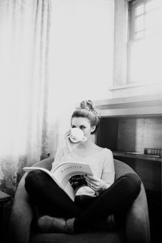 Reading with a warm drink