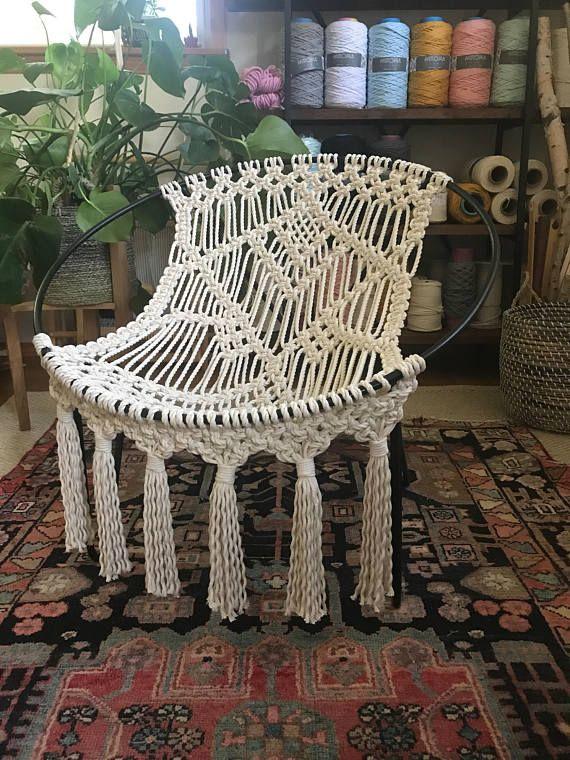 OOAK Mid Century Modern macrame hoop chair