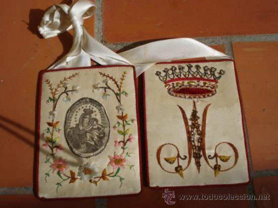 Antigüedades: Gran Escapulario de seda Bordado Virgen del Carmen sXIX - Foto 3 - 37609714