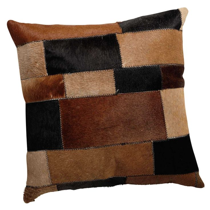 ARTY leather and cotton cushion in brown 40 x 40cm