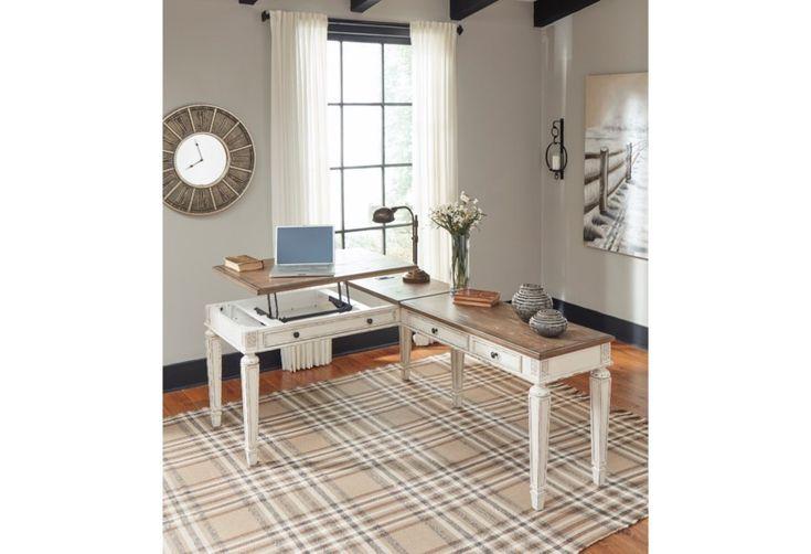 Ashley Furniture Signature Design Realyn L Shape Desk With Lift Top Usb Charging Ports Del Sol Furniture L Shap Home Home Office Furniture Desk Home Office