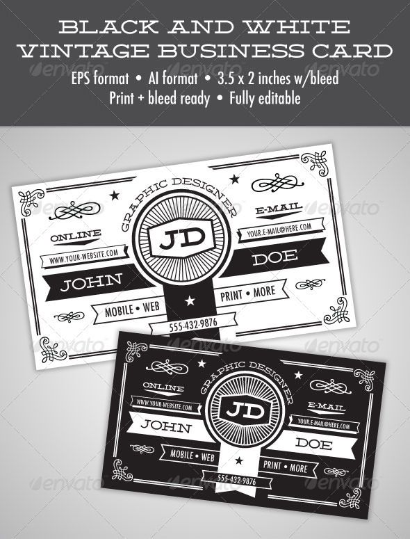 10 best vintage business cards images on pinterest vintage black and white vintage business card graphicriver item for sale reheart Image collections
