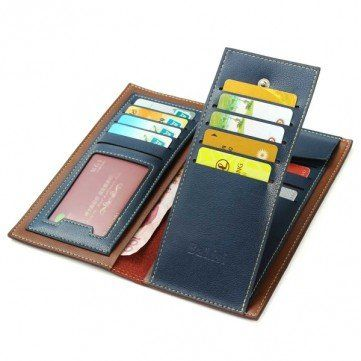 Quality Men Business Casual Retro Long Wallet Cards Cash Coins Bags Purse online - NewChic
