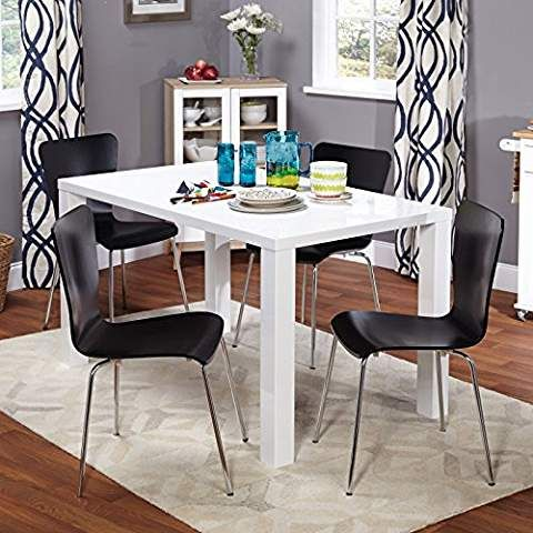 5 Piece Dining Set 1 Table With Glossy White Finish And Thick