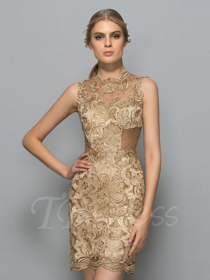 Tbdress.com offers high quality Sheath Jewel Neck Lace Sleeveless Knee-Length Cocktail Dress Sexy Cocktail Dresses unit price of $ 115.89.