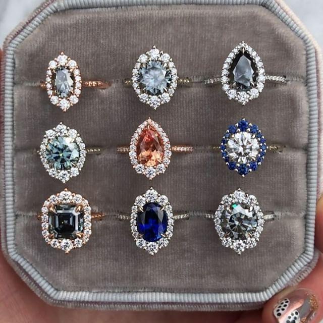 Halo-Verlobungsringe im Vintage- und Art-Deco-Stil von Kristin Coffin Jewelry. F…