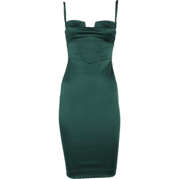 Just Cavalli Stretch-satin bustier dress (£342) ❤ liked on Polyvore featuring dresses, vestidos, short dresses, green, green party dress, green cocktail dress, holiday party dresses, bustier dress and mini party dress