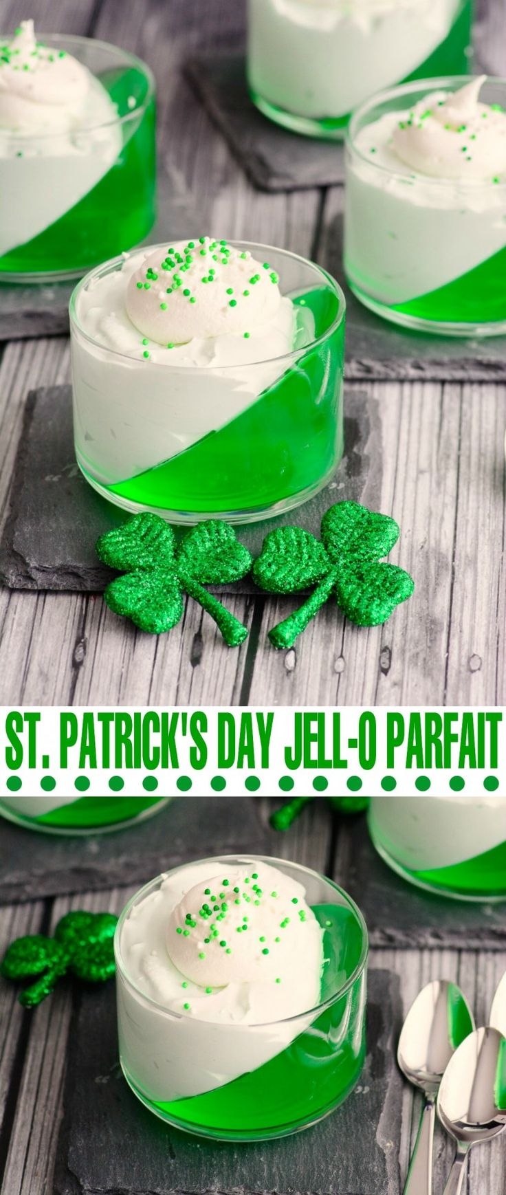St. Patrick's Day Jell-o Parfait- so simple to make but it looks absolutely stunning!