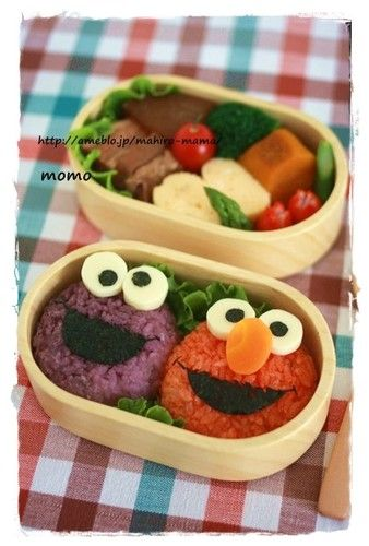 For Charaben (Decorative Bentos) ☆ Elmo and Cookie Monster ♪