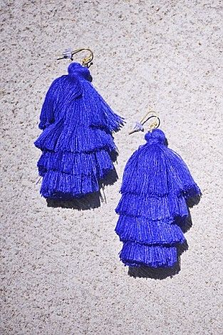 Triple Tassel Earring, Cobalt :: NEW ARRIVALS :: The Blue Door Boutique