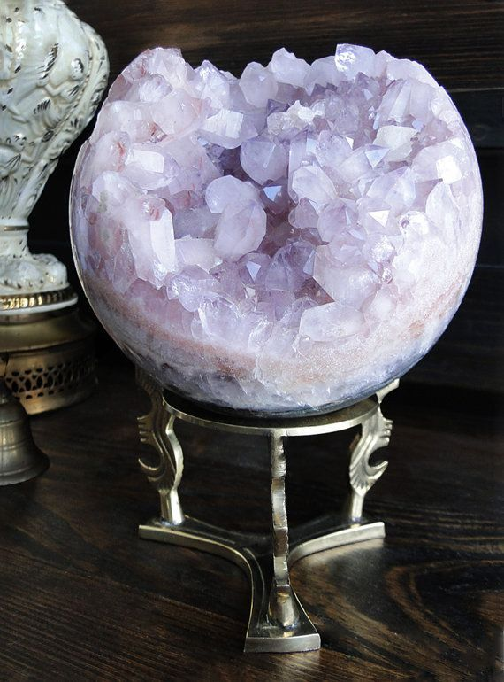 Jumbo Rare Pink Amethyst Crystal Geode Sphere by GrayVervain