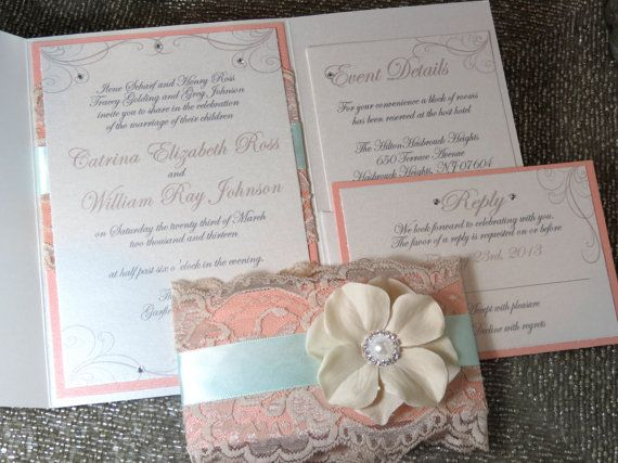 Mint And Peach Vintage Wedding Invtation. Find This Pin And More On SHABBY  CHIC WEDDING INVITATIONS ...
