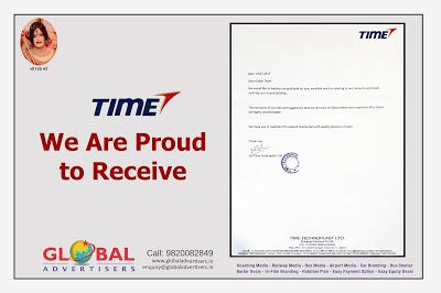 Global Advertisers - Outdoor Agency in its class : A letter of Appreciation from Time Technoplast Ltd...