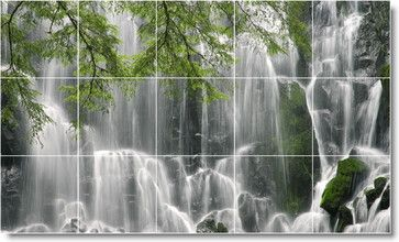 Waterfalls Picture Ceramic Tile Mural W058 - traditional - Tile Murals - Picture-Tiles