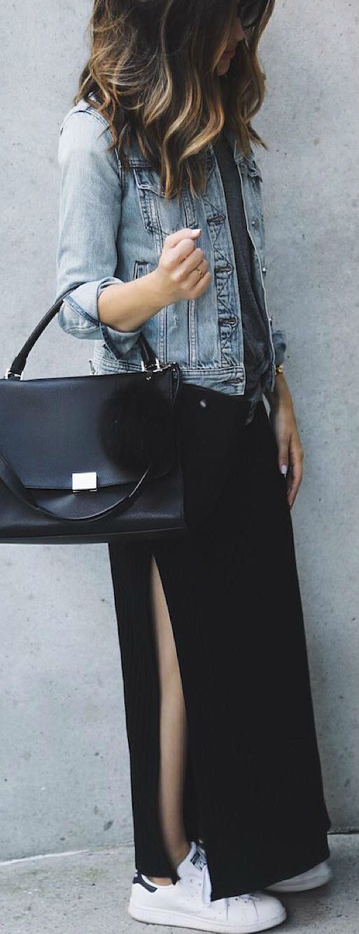 casual style obsession denim jacket + bag + maxi skirt