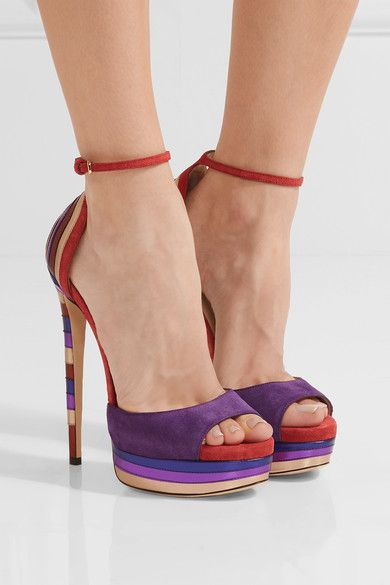 Heel measures approximately 120mm/ 5 inches with a 30mm/ 1 inch platform Purple and burnt-orange suede, multicolored leather Buckle-fastening ankle strap Designer color: Madeline Mix Made in ItalySmall to size. See Size & Fit notes.