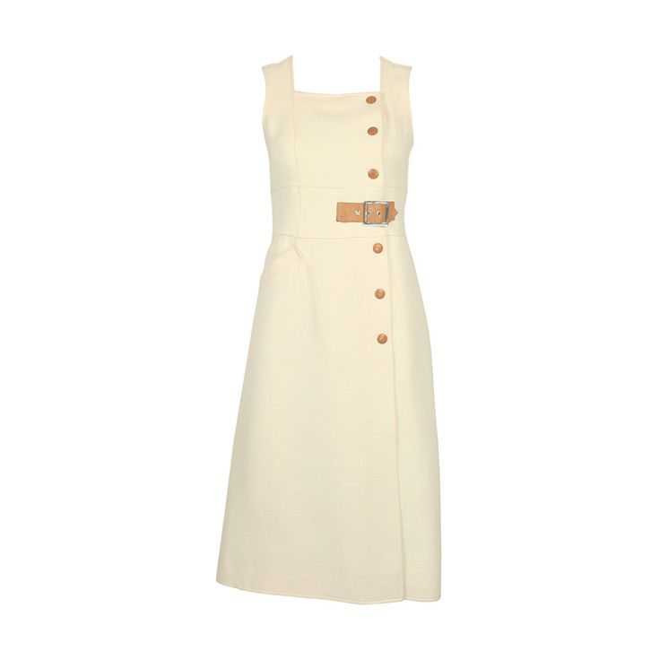 Courrèges 1960s Off White Dress with Leather Detail #24033 | From a collection of rare vintage day dresses at https://www.1stdibs.com/fashion/clothing/day-dresses/