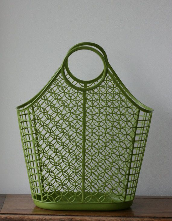 Vintage Shamrock Neatway Plastic Laundry Basket Tote Bag