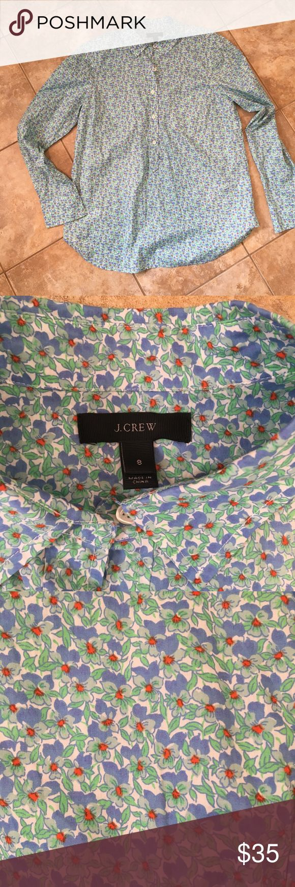 J. Crew perfect shirt 💝 This J Crew shirt is in EUC. Really cute and comfy and I love that it has a longer, over the hip fit so it can be worn over leggings. 💝 throw a vest over this and pair with skinnies and ankle boots for a perfect fall look!! J. Crew Tops Button Down Shirts