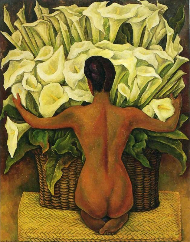 "Diego Rivera (1886-1957), Mexican artist. Social Realism, Muralism. ""Nude with Calla Lilies"" (1944)."
