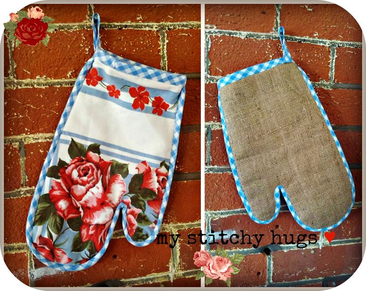 Made from a damaged vintage table cloth - breathing new life into old .. now a padded Oven glove.  Great for a retro kitchen ...