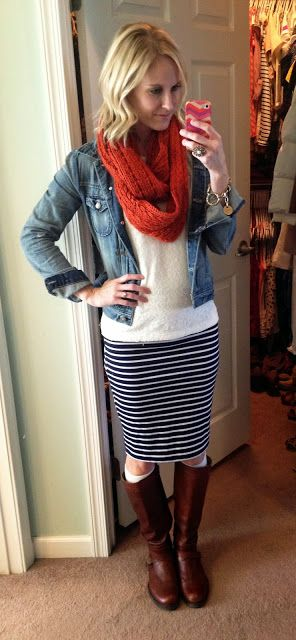 Dear stitch fix stylist, this is the perfect fall office casual outfit for me. Fitted skirt (hitting just at the knees), cable knit sweater (not too tight or too thick) and denim jacket.