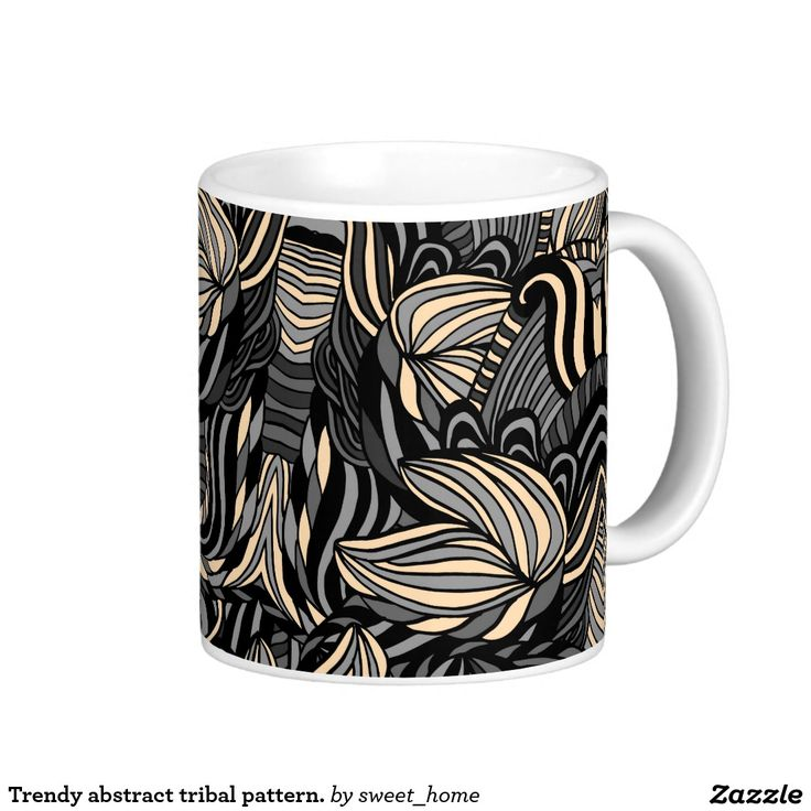 Trendy abstract tribal pattern. coffee mug  Trendy abstract tribal pattern. For home design and decor. Beautiful home accessories ideas. Luxury elegant style.