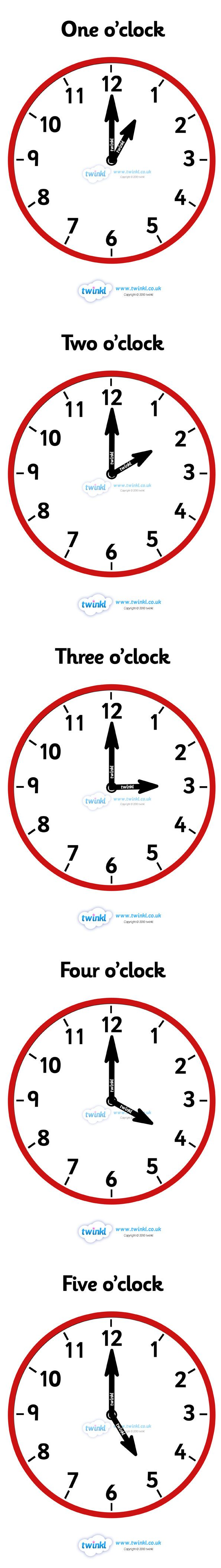 Twinkl Resources >> Analogue Clocks Hourly O'Clock  >> Thousands of printable primary teaching resources for EYFS, KS1, KS2 and beyond! time resource, time vocabulary, clock face, O'clock, half past, quarter past, quarter to, shapes, spaces, measures,