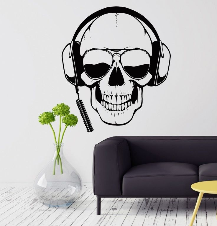 Personality Wall Decal Skull Headphones Gamer Sunglasses Boys Room Vinyl Stickers Home Decoration Stickers KW-210
