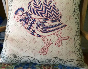 Hand Block printed pillow cover with rooster and dragonfly design, decorative cushions