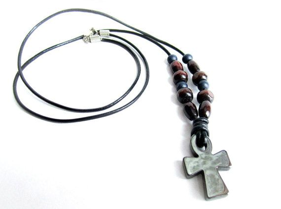 Mens cross necklace hematite cross leather by Bravemenjewelry