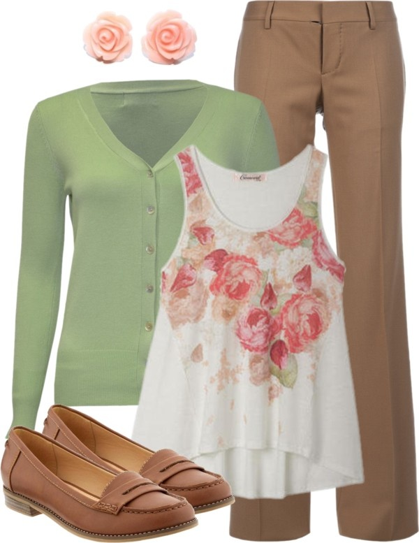 Green Brown White Pink Outfit