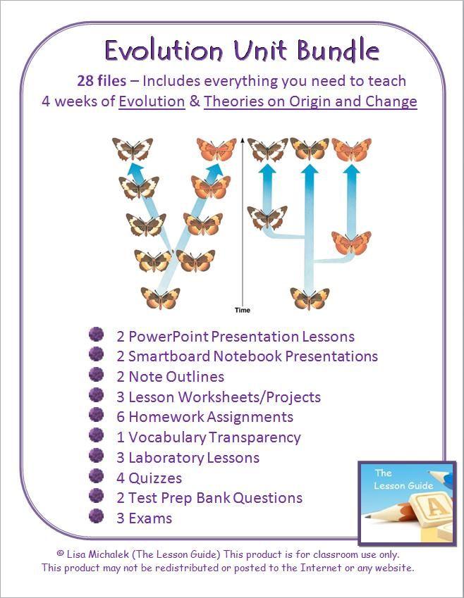 Evolution Unit Bundle 28 Files Powerpoints Note Outlines