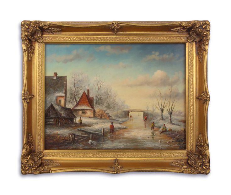 Olieverf schilderij ,winter landschap.    https://www.antiekenbrocantereplica.nl