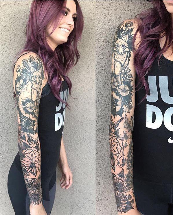 Nature Tattoos On Pinterest: Tattoo Sleeve Nature Black Fox Sunflowers Butterflies
