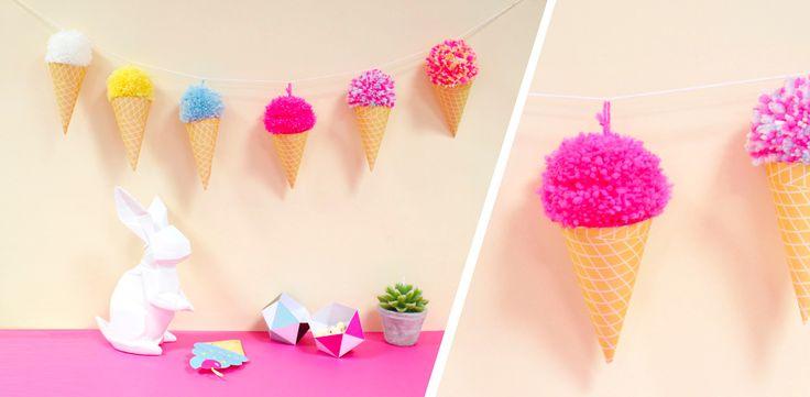 DIY guirlande de glaces aux pompons