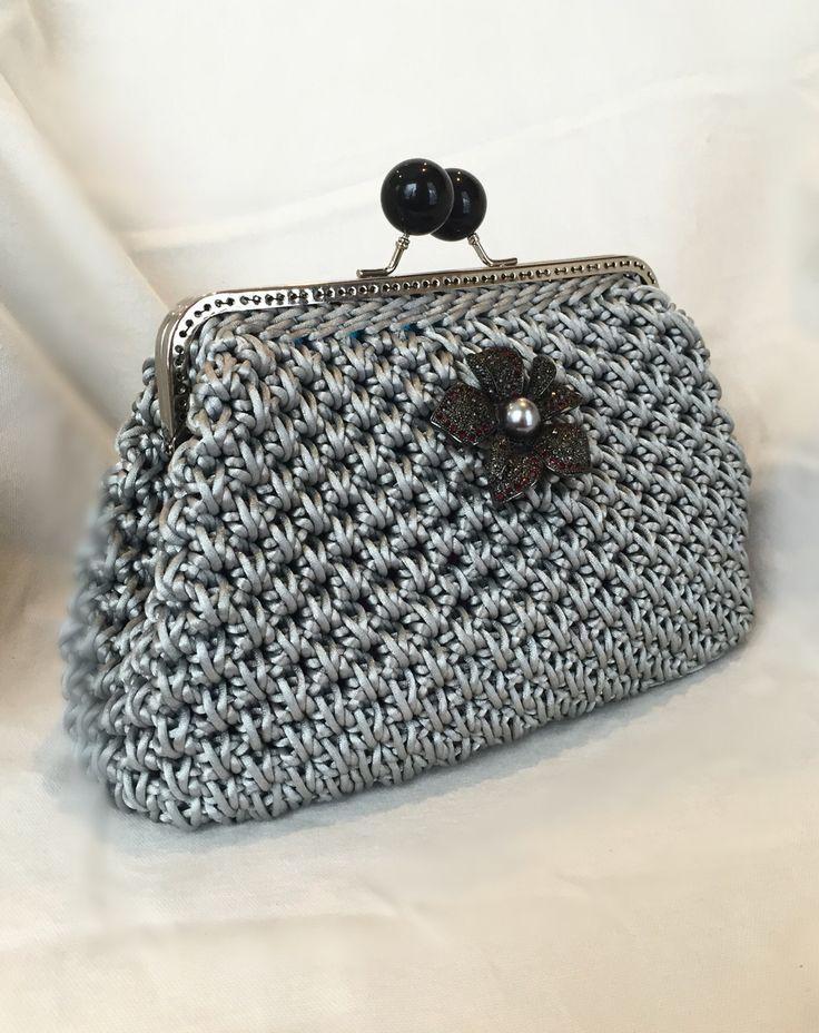 Silver Nylon Cord Clutch Handmade Crochet by CaitiHandmade Etsy