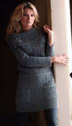 Серое платье-пуловер