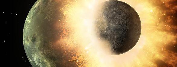 """Die Entstehung des Mondes durch den """"Giant Impact"""" (künstlerische Darstellung)  Der Erdmond entstand, der gängigsten Theorie zufolge, einst nach einem heftigen Zusammenstoß der Protoerde mit einem unglücklich ihre Bahn kreuzenden, etwa marsgroßen Himmelskörper namens Theia: Als der Staub sich nach diesem Crash dann gelegt hatte, kreisten ein zu mehr als 80 Prozent aus Theia-Material bestehender Mond und die Erde umeinander, wie Modellrechnungen und Simulationen der vor rund 4,5 Milliarden…"""