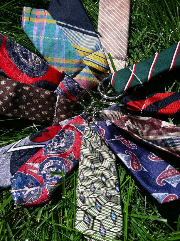 12 Ways to Upcycle Old Neckties: Jennifer Aldinger Angerame, owner of the Southern Yankee shop on Etsy.com, uses the skinny ends of old ties to make brightly colored key chains. After cutting off the ends, she double-folds them and backstitches in a split key ring from a craft store with her sewing machine. The final product is about three-and-a-half inches long. From DIYnetwork.com: