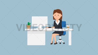 Corporate Woman Working at her Desk