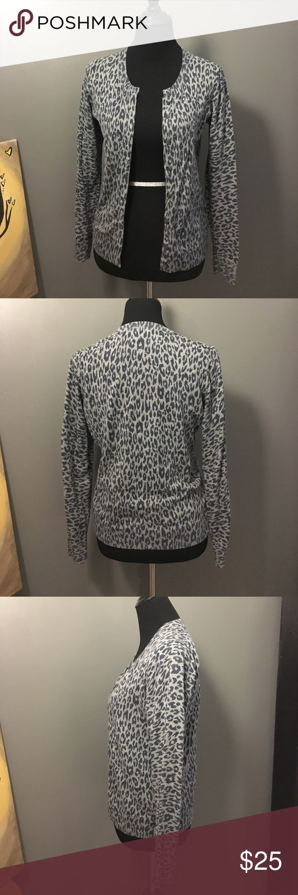GAP Animal Print Cardigan Seriously, how great is this cardigan!? Gray with blue leopard print. In excellent condition, worn only once for a short time. From Gap Factory. GAP Sweaters Cardigans