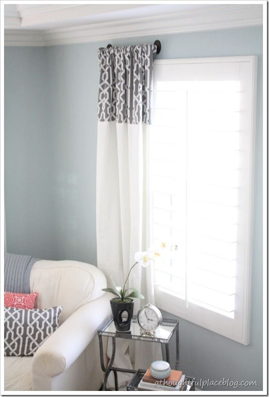 DIY drapes with patterned fabric at the top: Wall Colors, Beds Rooms, Create Unique, Master Bedrooms, Curtains Ideas, Living Rooms Curtains, Window Treatments, Thoughts Places, Diy Curtains