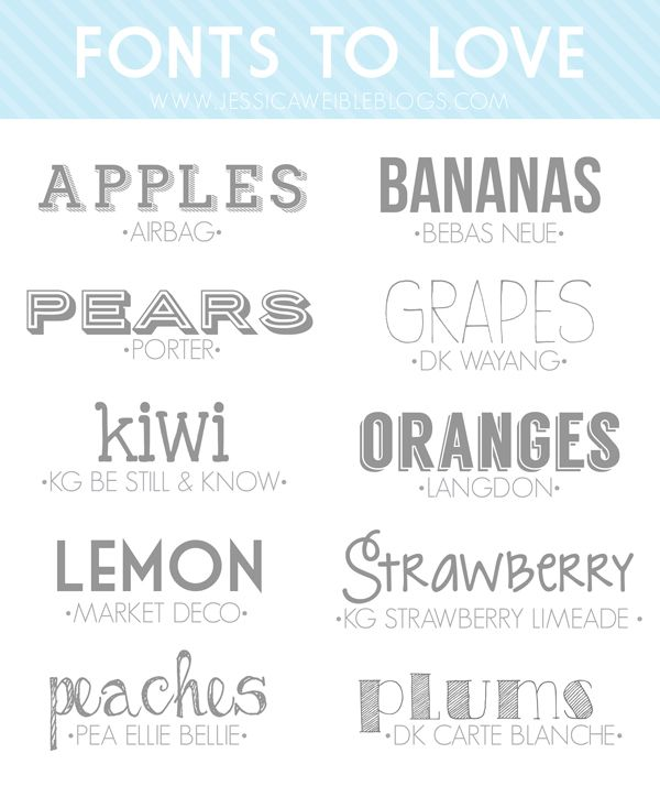 10 Fonts to Love | jessicaweibleblogs.com