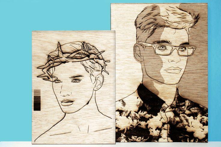 Ilustración grabada en madera con láser. Ilustration engraving laser. Corte láser. Laser cut. cut laser.