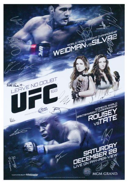 UFC 168 Chris Weidman vs. Anderson Silva 2 (and Rousey/Tate) Autographed Fight Night Poster #'d 61/125