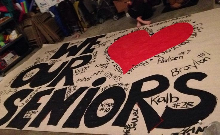 Final Senior night, had cheerleader names on the heart and players numbers around it