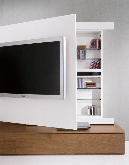 It could be cool to put together some sort of storage *behind* the TV-wall, and have it on hinges with a wheel on one end? Then I could get to the cabling easier, as well.