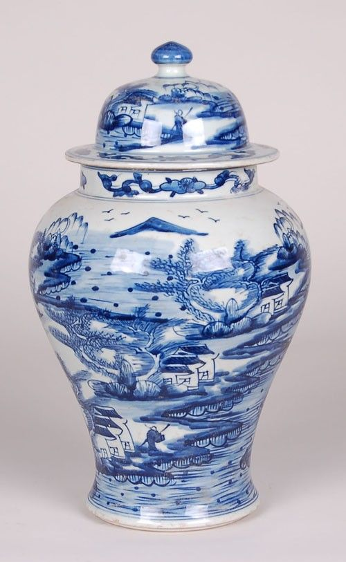 Canton Ginger Jar Lamp with Blue and White Chinoiserie Design from The Well Appointed House